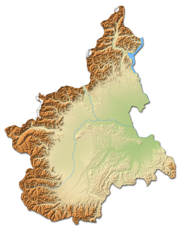 Relief map of Piemont, a province of Italy, with shaded relief.