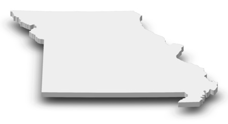 Map of Missouri, a province of United States, as a gray piece with shadow. Stock Photo
