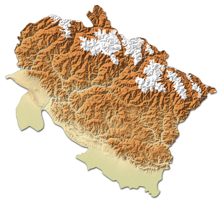 Relief map of Uttarakhand, a province of India, with shaded relief.