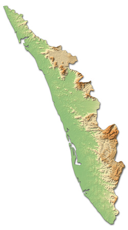 kerala: Relief map of Kerala, a province of India, with shaded relief.