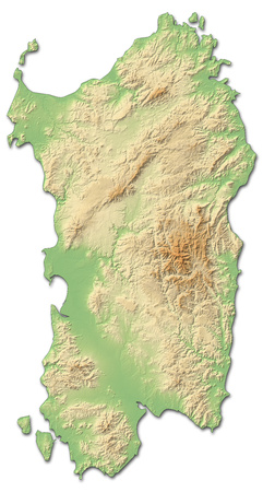Relief map of Sardinia, a province of Italy, with shaded relief. Banco de Imagens