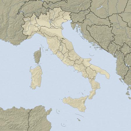 イタリアと nearbz 国のレリーフ。