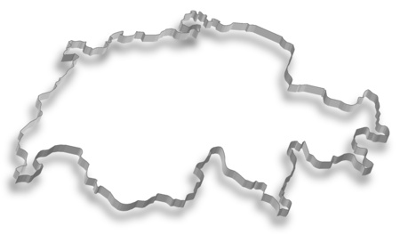 Map of Swizerland, the Contour is designed as a wall. Illustration