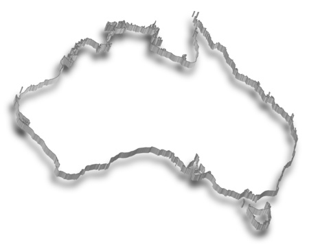Map of Australia, the Contour is designed as a wall. Illustration