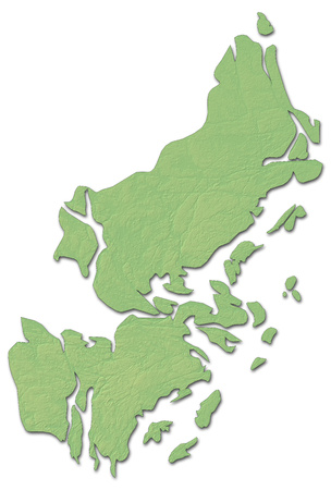 Relief map of Stockholm County, a province of Sweden, with shaded relief.