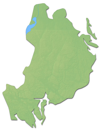 sverige: Relief map of Uppsala County, a province of Sweden, with shaded relief. Stock Photo