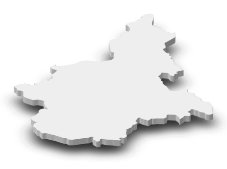 Map of Piemont, a province of Italy, as a gray piece with shadow.