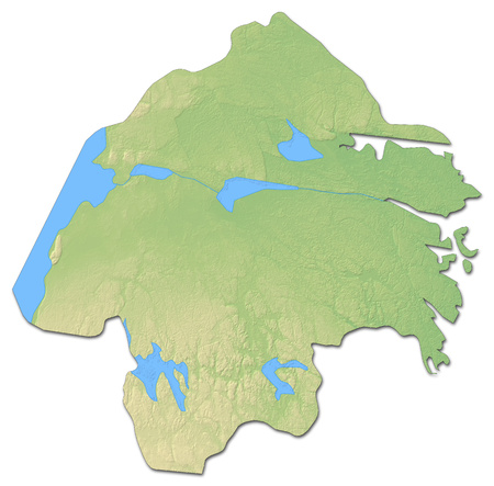 Relief map of ?sterg?tland County, a province of Sweden, with shaded relief.