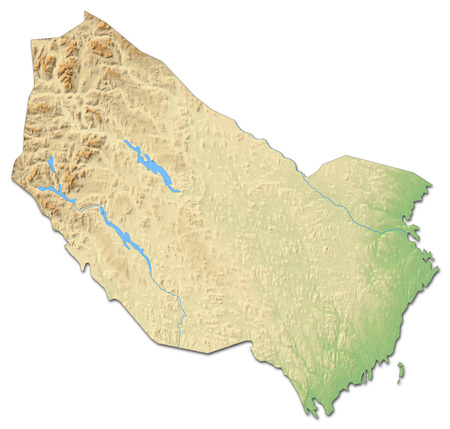 Relief map of V?sterbotten County, a province of Sweden, with shaded relief.