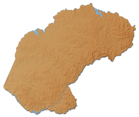 Relief map of Free State, a province of South Africa, with shaded relief.