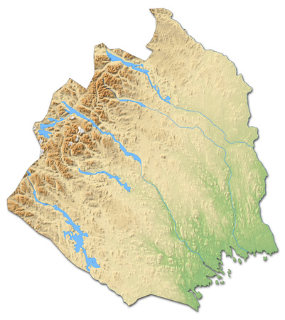 Relief map of Norrbotten County, a province of Sweden, with shaded relief.