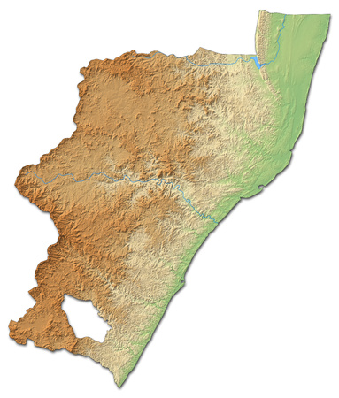 Relief map of KwaZulu-Natal, a province of South Africa, with shaded relief. Stock Photo