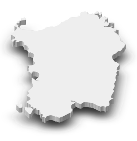 Map of Sardinia, a province of Italy, as a gray piece with shadow.