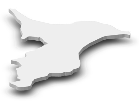 Map of Chiba, a province of Japan, as a gray piece with shadow. Stock Photo