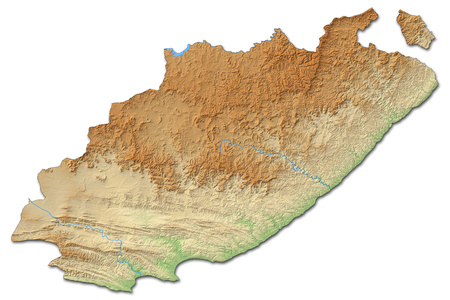 Relief map of Eastern Cape, a province of South Africa, with shaded relief. Stock Photo