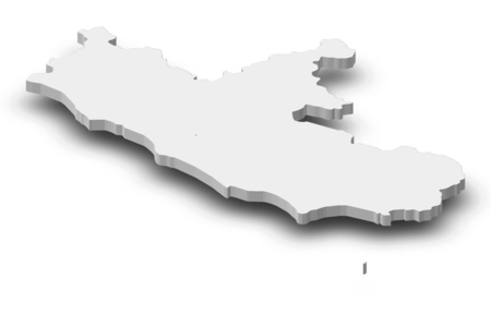 Map of Lazio, a province of Italy, as a gray piece with shadow. Stock Photo