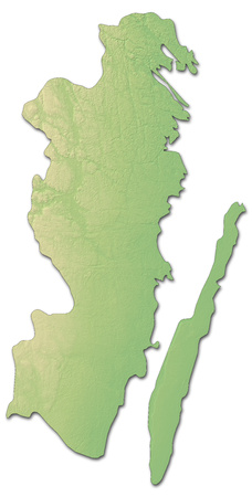 sverige: Relief map of Kalmar County, a province of Sweden, with shaded relief. Stock Photo