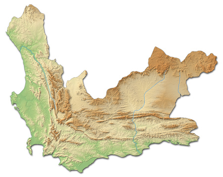 Relief map of Western Cape, a province of South Africa, with shaded relief.