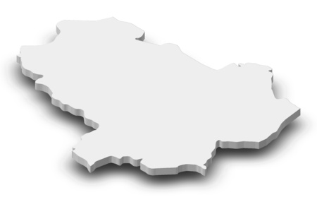 Map of Basilicata, a province of Italy, as a gray piece with shadow.