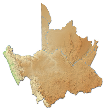 Relief map of Northern Cape, a province of South Africa, with shaded relief.