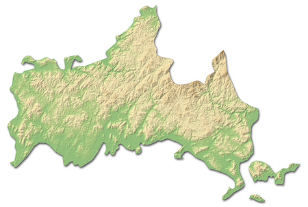 shaded: Relief map of Yamaguchi, a province of Japan, with shaded relief.