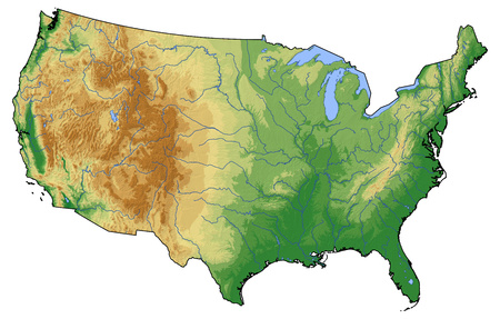 Relief map of United States with shaded relief.