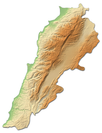 shaded: Relief map of Lebanon with shaded relief. Stock Photo