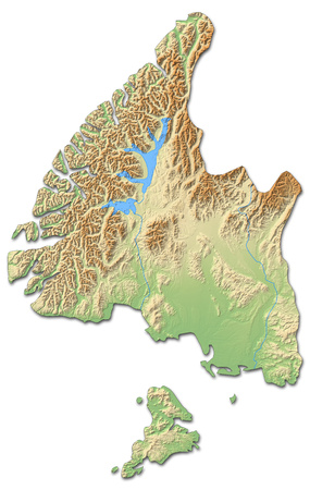 Relief map of Southland, a province of New Zealand, with shaded relief.