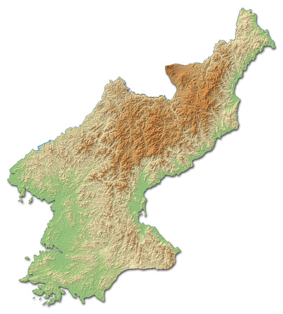 shaded: Relief map of North Korea with shaded relief.