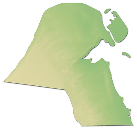 Relief map of Kuwait with shaded relief. Stock Photo