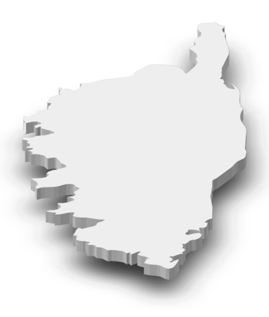 corsica: Map of Corsica, a province of France, as a gray piece with shadow.