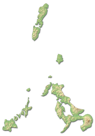 nagasaki: Relief map of Nagasaki, a province of Japan, with shaded relief.