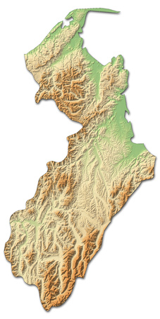 Relief map of Marlborough, a province of New Zealand, with shaded relief. Stock Photo