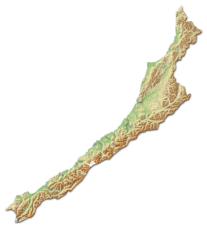 Relief map of West Coast, a province of New Zealand, with shaded relief.