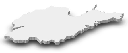 Map of Shandong, a province of China, as a gray piece with shadow.
