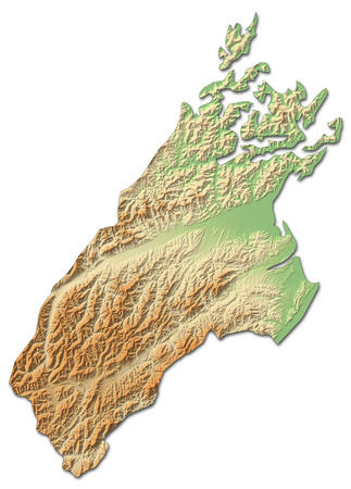 Relief map of Tasman, a province of New Zealand, with shaded relief.