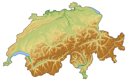 Relief map of Swizerland with shaded relief. Stock Photo
