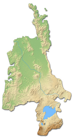Relief map of Waikato, a province of New Zealand, with shaded relief.