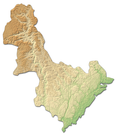 Relief map of Aust-Agder, a province of Norway, with shaded relief.