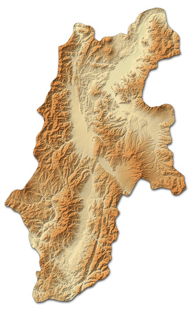 shaded: Relief map of Nagano, a province of Japan, with shaded relief. Stock Photo