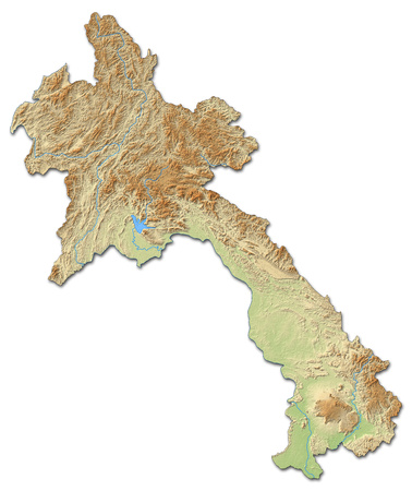shaded: Relief map of Laos with shaded relief. Stock Photo