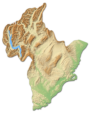 Relief map of Otago, a province of New Zealand, with shaded relief.