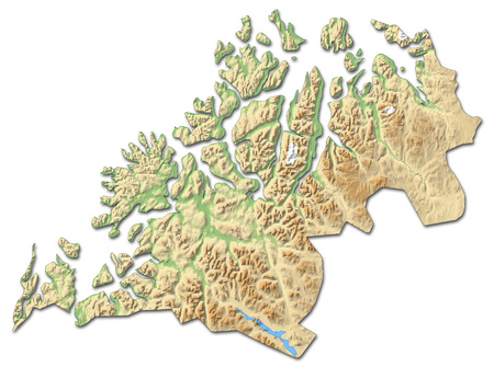 Relief map of Troms, a province of Norway, with shaded relief.