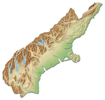Relief map of Canterbury, a province of New Zealand, with shaded relief.