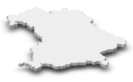 federal republic of germany: Map of Bavaria, a province of Germany, as a gray piece with shadow.