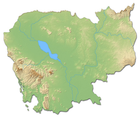 Relief map of Cambodia with shaded relief. Stock Photo