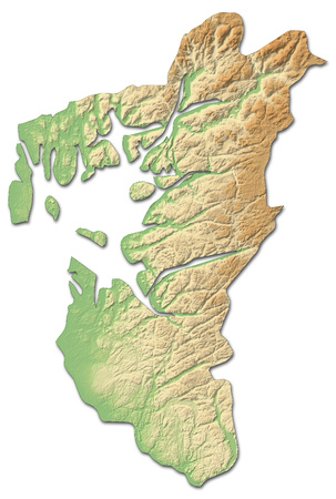 Relief map of Rogaland, a province of Norway, with shaded relief. Stock Photo