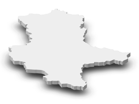 Map of Saxony-Anhalt, a province of Germany, as a gray piece with shadow.