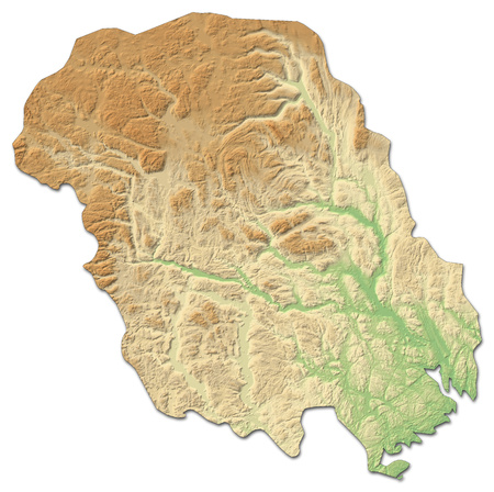 shady: Relief map of Telemark, a province of Norway, with shaded relief. Stock Photo