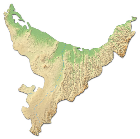 Relief map of Bay of Plenty, a province of New Zealand, with shaded relief.